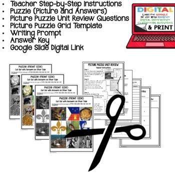Louisiana History SYMBOLS Picture Puzzle, Test Prep, Unit Review, Study Guide