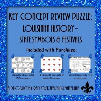 Louisiana History State Symbols and Festivals Key Concept Puzzle