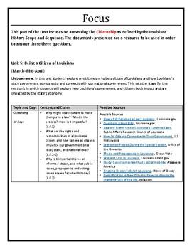 Louisiana History - Unit 5B - Citizenship - 8th Grade