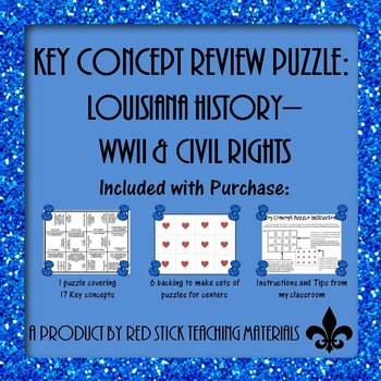 Louisiana History WWII & Civil Rights Key Concept Puzzle
