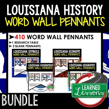 Louisiana History Word Wall 410 Pennants (Louisiana History Bundle)