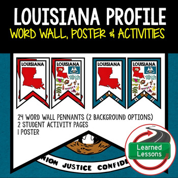 Louisiana History Word Wall, State Profile, Activity Pages