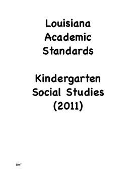 Louisiana Kindergarten Social Studies I Can Statements (2011 GLEs)