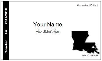 Louisiana (LA) Homeschool ID Cards for Teachers and Students