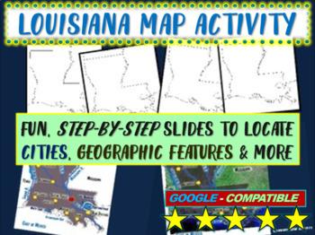 Louisiana Map Activity- fun, engaging, follow-along 20-slide PPT