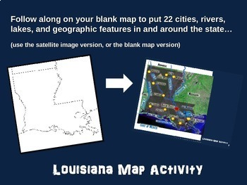 Louisiana Map Activity- fun, engaging, follow-along 20-slide PPT