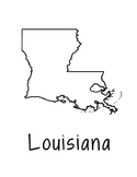 Louisiana Map Coloring Page Craft - Lots of Room for Note-Taking & Creativity