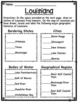 Louisiana Memory Map Activity