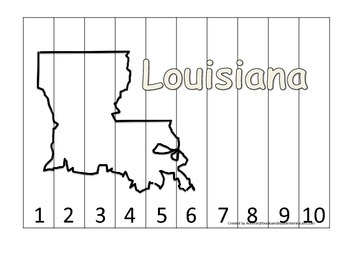 Louisiana Number Sequence Puzzle.  Learn the States preschool printable game.