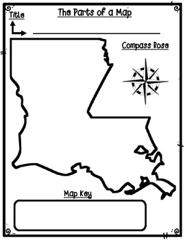 Louisiana Parts of a Map Template