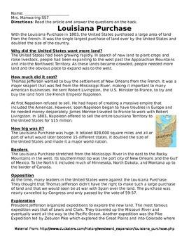 Louisiana Purchase Comprehension Reading