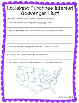 Louisiana Purchase Internet Scavenger Hunt