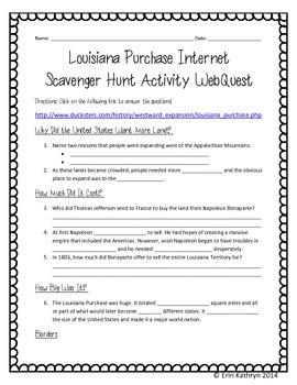 Louisiana Purchase Internet Scavenger Hunt WebQuest Activity