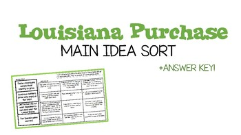 Louisiana Purchase Main Idea Sort