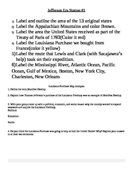Louisiana Purchase Map Activity and Analysis Questions