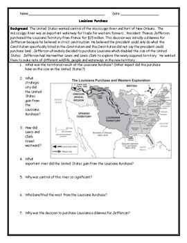 Louisiana Purchase Map Worksheet with Answer Key by JMR History | TpT