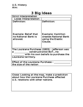 Louisiana Purchase PowerPoint Worksheet