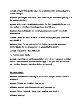 Louisiana Purchase Readers Theater and Comprehension Questions