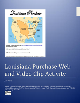 Louisiana Purchase WebQuest and Video Clip Activity