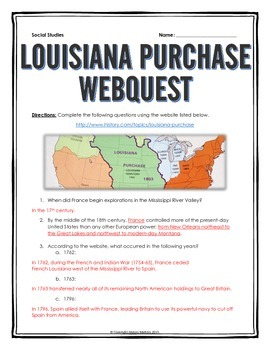 Louisiana Purchase - Webquest with Key