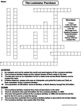 Louisiana Purchase Worksheet/ Crossword Puzzle