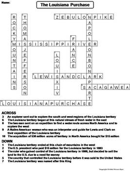 louisiana purchase worksheet crossword puzzle by science spot tpt. Black Bedroom Furniture Sets. Home Design Ideas