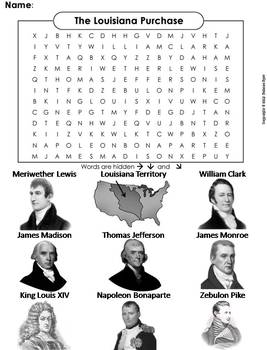 Louisiana Purchase Worksheet/ Word Search