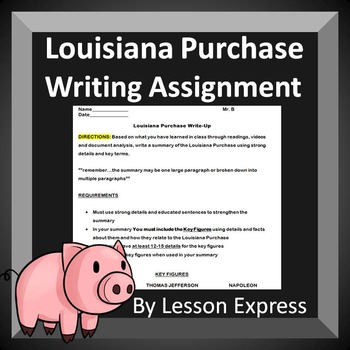 Louisiana Purchase Writing Assignment Review (summarize events and key figures)