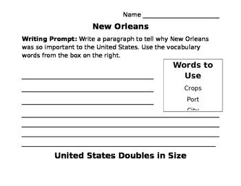 Louisiana Purchase Writing Prompts