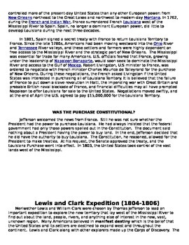 Louisiana Purchase and Lewis and Clark Handout
