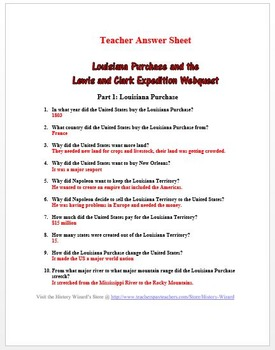Louisiana Purchase and the Lewis and Clark Expedition Webquest