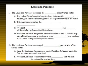 Louisiana Purchase map, info, and fun pictures to summarize what happened.