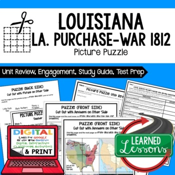 Louisiana Purchase to War 1812 Picture Puzzle, Test Prep Unit Review Study Guide