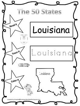 Louisiana Read it, Trace it, Color it Learn the States preschool worksheet.