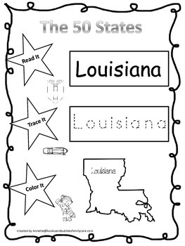 Louisiana Read it, Trace it, Color it Learn the States pre