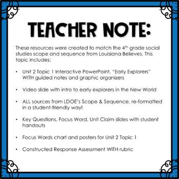 Louisiana Social Studies 4th Grade Unit 2 Topic 1 COMPLETE TASK