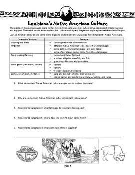 Louisiana Social Studies Booklet 8 - Louisiana's First Inhabitants
