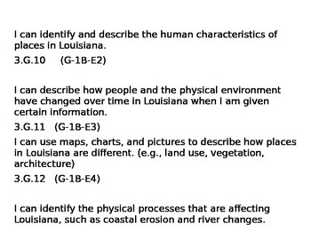 Louisiana Social Studies GLEs (I CAN STATEMENTS!) Third Grade