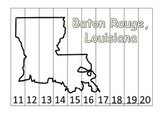 Louisiana State Capitol Number Sequence Puzzle 11-20.  Geography and Numbers.
