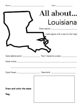 Louisiana State Facts Worksheet: Elementary Version