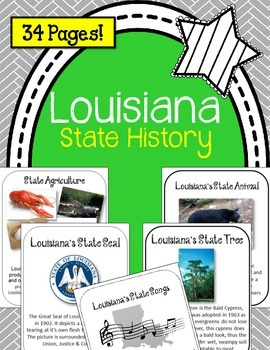 Louisiana State History Unit.  U.S. State History.  34 Pages!!