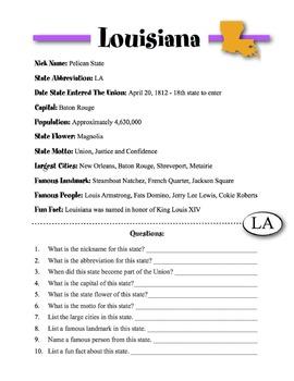 Louisiana State Information & Worksheet