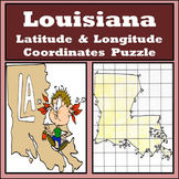 Louisiana State Latitude and Longitude Coordinates Puzzle - 60 Points to Plot