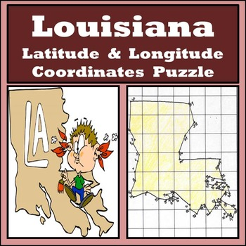 Louisiana State Latitude and Longitude Coordinates Puzzle