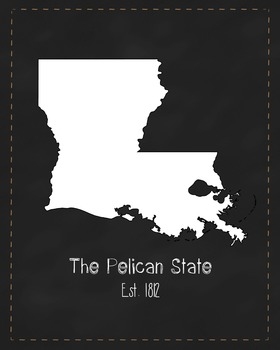 Louisiana State Map Class Decor, Government, Geography, Bl