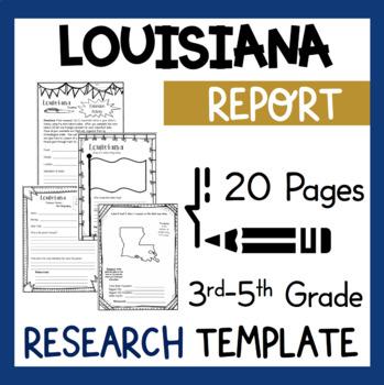 Louisiana State Research Report Project Template + bonus timeline Craftivity LA