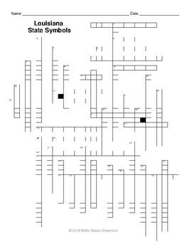 Louisiana State Symbols Crossword Puzzle