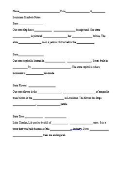 Louisiana State Symbols Notes/Quiz/Project (Editable)