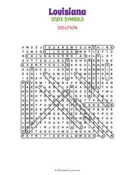 Louisiana State Symbols Word Search Puzzle