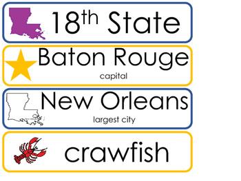 Louisiana State Word Wall Bulletin Board Set. Geography Curriculum.